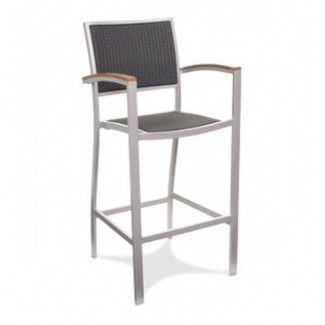 Bayhead Aluminum Bar Stool with Woven Seat and Back