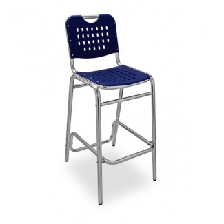 Daytona Aluminum Stackable Bar Stool with Polypropylene Seat and Back