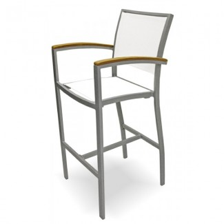 Mediterranean Aluminum Bar Stool with Batylene Mesh Seat and Back