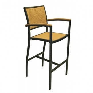 Mediterranean Aluminum Bar Stool with Woven Seat and Back