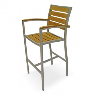 Mediterranean Aluminum Bar Stool with Composite Teak Seat and Back