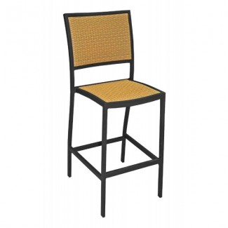 Mediterranean Aluminum Armless Bar Stool with Woven Seat and Back
