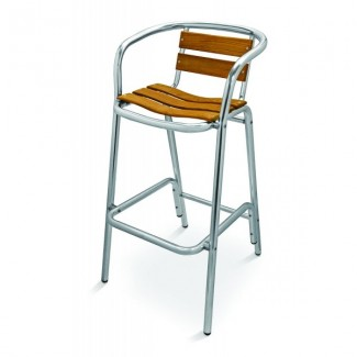 Aluminum Bar Stool with Composite Teak Seat and Back