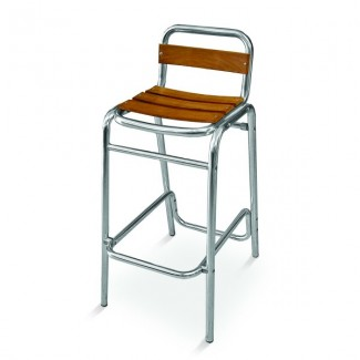 Aluminum Armless Bar Stool with Composite Teak Seat and Back