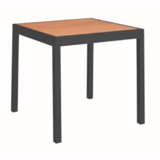 "Miami 36"" Square Aluminum Table with Composite Teak Top"