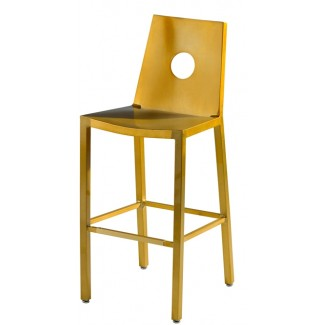 Aluminum Bar Stool with Full Moon Back