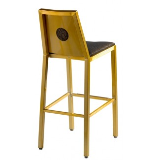 Aluminum Bar Stool with Upholstered Seat and Inner Back