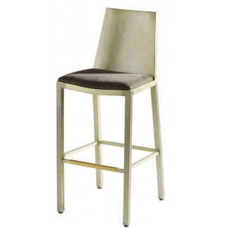 Aluminum Bar Stool with Upholstered Seat