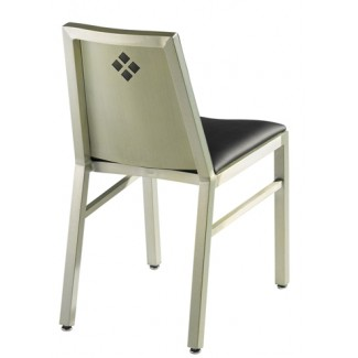 Aluminum Diamond Back Side Chair with Upholstered Seat and Back
