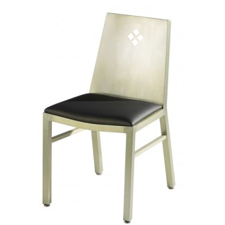 Aluminum Diamond Back Side Chair with Upholstered Seat