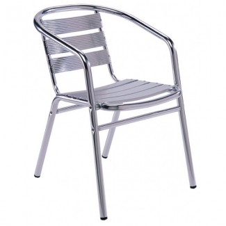 Aluminum Stacking Arm Chair with Aluminum Seat and Back