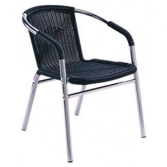 Aluminum Stacking Arm Chair - Black