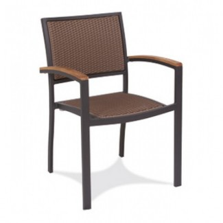 Bayhead Aluminum Stacking Arm Chair with Woven Seat and Back