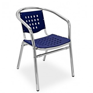 Daytona Aluminum Stacking Arm Chair with Polypropylene Seat and Back