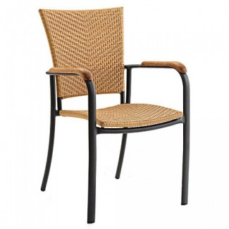 Locust Aluminum Stacking Arm Chair with Woven Seat and Back