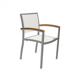 Mediterranean Aluminum Stacking Arm Chair with Batyline Mesh Seat and Back