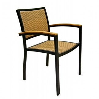 Mediterranean Aluminum Stacking Arm Chair with Woven Seat and Back