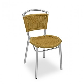 Aluminum Stacking Side Chair with Woven Wicker Seat and Back