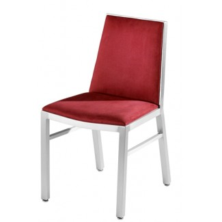 Aluminum Side Chair with Upholstered Seat and Back