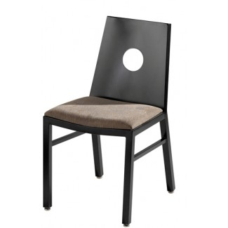 Aluminum Side Chair with Upholstered Seat and Full Moon Back