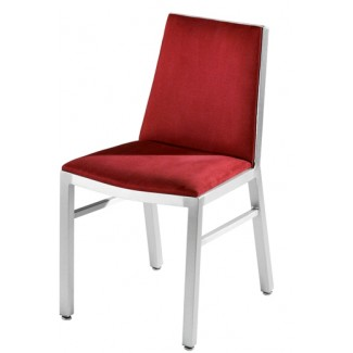 Aluminum Side Chair with Upholstered Seat and Inner Back