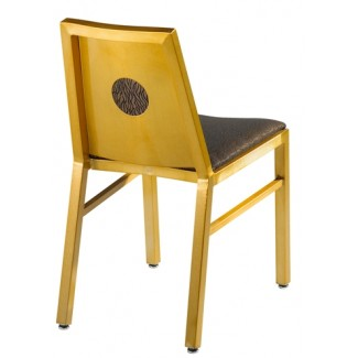 Aluminum Side Chair with Upholstered Seat, Back and Full Moon Back
