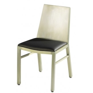 Aluminum Side Chair with Upholstered Seat