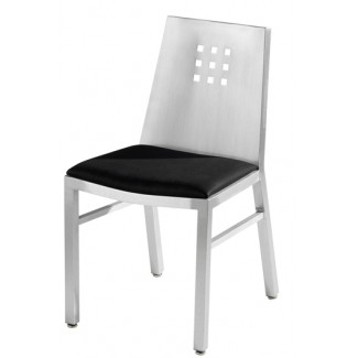 Aluminum Three by Three Side Chair with Upholstered Seat