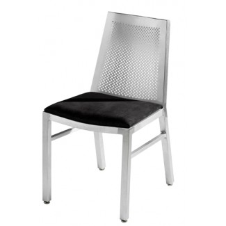 Aluminum Waffle Back Side Chair with Upholstered Seat