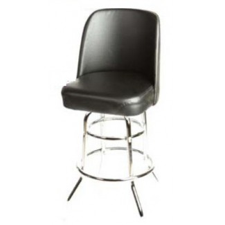 American Made Black Bucket Bar Stool with Double Rung Chrome Frame SL3134-BLK