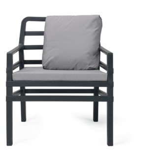 Aria Restaurant Club Chair in Anthracite with Grey Cushions