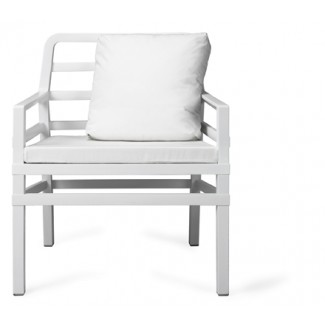 Aria Restaurant Club Chair in White with Orange Cushions