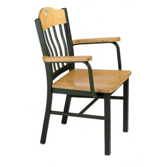 Arm Chair with Steel Frame and Wood Seat 982-AR
