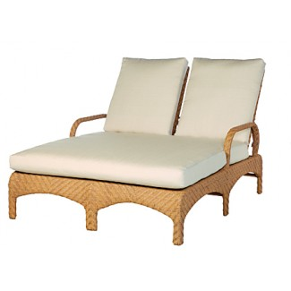 "Avignon Adjustable Double Chaise Lounge with 4"" Seat and Backrest Cushions E621"