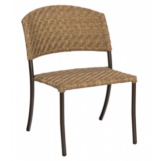 Barlow Commercial Restauarnt Hospitality Woven Outdoor Stackable Dining Chair Bronzed Teak