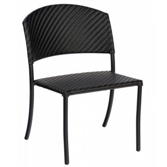 Barlow Commercial Restauarnt Hospitality Woven Outdoor Stackable Dining Side Chair Dark Roast