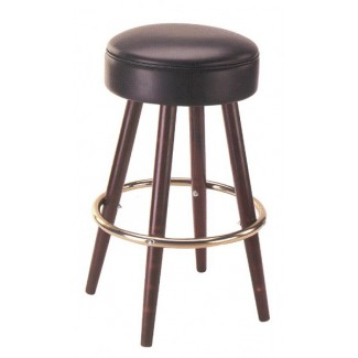 Backless Beech Wood Bar Stool 3080P with Upholstered Seat