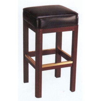Backless Beech Wood Bar Stool 3150P with Square Upholstered Seat