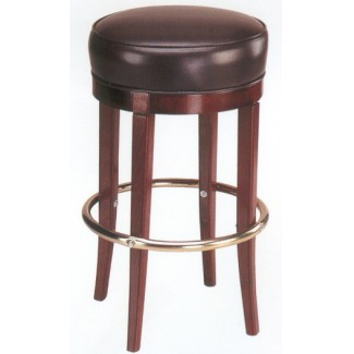 Backless Beech Wood Bar Stool 3170P with Round Upholstered Seat
