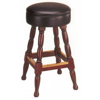 Backless Beech Wood Bar Stool 3260P with Upholstered Seat