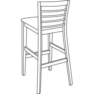 Beechwood Bar Stool BS-345UR with Picture Back