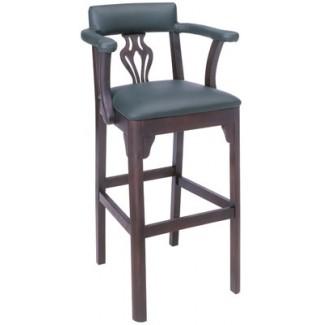 Beechwood Bar Stool BS-446UR with Upholstered Arms