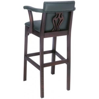 Beechwood Bar Stool BS-448UR with Upholstered Arms