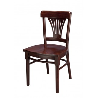 Beech Wood Side Chair 745W  with Fan Back and Wood Seat