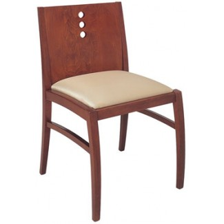 Beechwood Side Chair with 3 Vertical Circles WC-934UR