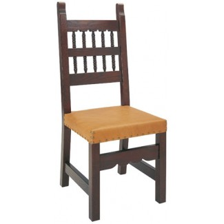 Beechwood Side Chair with Strap Leather Seat WC-153LR