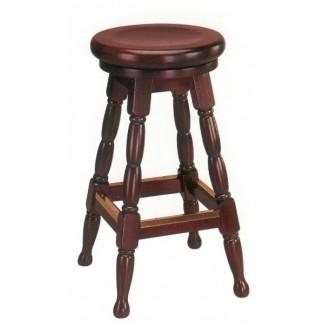 Restaurant Bar Stool Wood Backless Swivel Seat