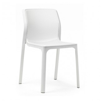 Bit Restaurant Stackable Modern Mid Century Sidechair White