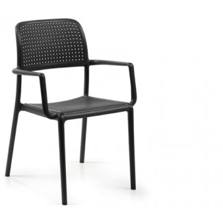 Bora Stacking Resin Arm Chair - Anthracite