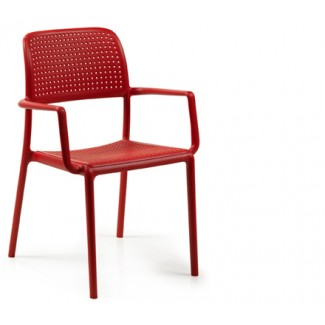 Bora Stacking Restaurant Arm Chair in Red